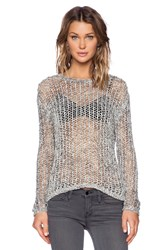 Inhabit Crochet Crew Neck Sweater Gray