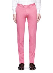 Isaia Cotton Stripe Dobby Chinos Pink