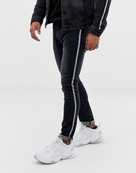 Liquor N Poker Skinny Jeans With Metalic Sport Stripe In Black