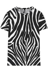 Versus Zebra Print Stretch Cotton T Shirt Black