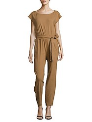 Alice Olivia Relaxed Wide Leg Jumpsuit Tan