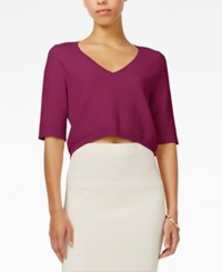 Rachel Roy V Neck Crop Top Only At Macy's Fuchsia