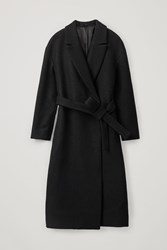 Cos Oversized Belted Wool Coat Black