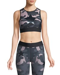 Ultracor Level Camo Print Knockout Crop Top Pink Silver
