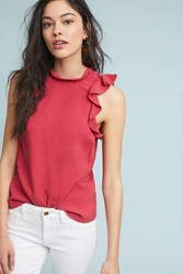 Cloth And Stone Ruffled Tank Red