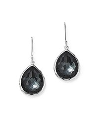 Ippolita Sterling Silver Wonderland Hematite And Clear Quartz Doublet Mini Teardrop Earrings Black Silver