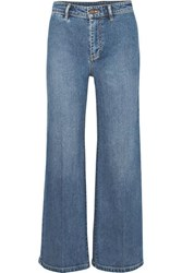 Vince Cropped High Rise Wide Leg Jeans Indigo