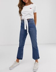 Brave Soul Tie Front T Shirt With Wild At Heart Embroidery White