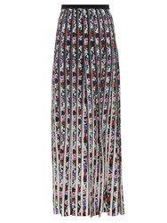 Mary Katrantzou Acti Gardenia Print Silk Skirt Black White