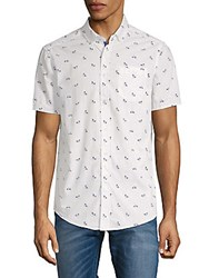 Report Collection Bicycle Print Cotton Button Down Shirt White Multi