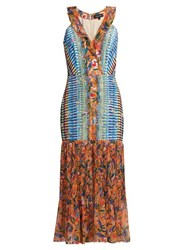 Saloni Amy Printed Silk Dress Orange Multi