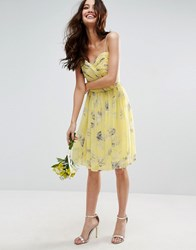 Asos Wedding Rouched Mini Dress In Sunshine Floral Print Multi