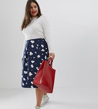 Asos Design Curve Midi Skirt With Box Pleats In Navy Floral Print Multi