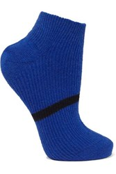 Maria La Rosa Striped Ribbed Cashmere Socks Navy