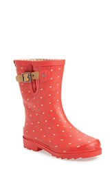Chooka Women's 'Classic Dot' Mid High Rain Boot Red Matte