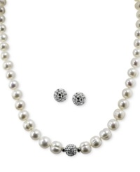 Honora Style Cultured Freshwater Pearl 7Mm And Crystal 10Mm Jewelry Set In Sterling Silver