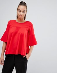 Ax Paris Frill Sleeve Top Red