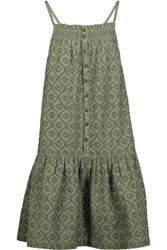Current Elliott The Hazel Embroidered Cotton Dress Army Green