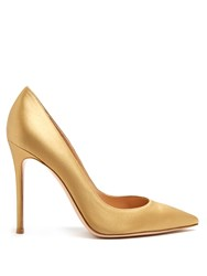 Gianvito Rossi 100Mm Point Toe Satin Pumps Gold