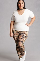 Forever 21 Plus Size Ladder Camo Leggings Olive
