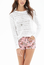 Forever 21 Antiqued Floral Denim Shorts