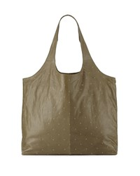 Lauren Merkin Scarlett Studded Leather Tote Bag Olive Green