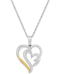 Macy's Diamond Heart Pendant Necklace 1 5 Ct. T.W. In Sterling Silver And 14K Gold Two Tone