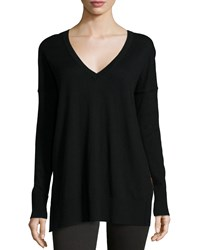 Derek Lam 10 Crosby Long Sleeve Leopard Print Back Top Black Leopard