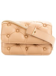 Benedetta Bruzziches Pintucked Shoulder Bag Nude And Neutrals