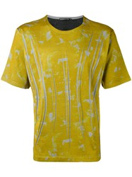 Issey Miyake Men Graphic Print T Shirt Men Cotton Polyester 5 Yellow Orange