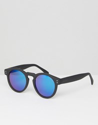 Komono Clement Round Sunglasses In Black Rubber With Blue Lens Black