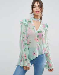 Asos Floaty Blouse In Mint Floral With Neck Band Multi
