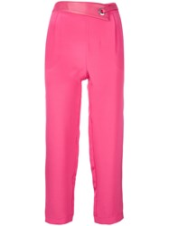 Max And Moi Eyelet Detail Cropped Trousers Pink And Purple