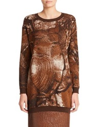 Max Mara Party Printed Turtle Sweater Tobacco