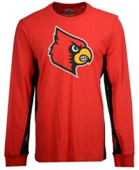 G3 Sports Men's Louisville Cardinals Hail Mary Long Sleeve T Shirt Red Black