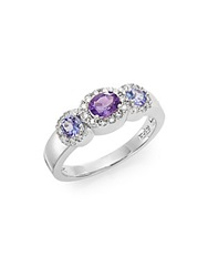 Effy Amethyst Tanzanite Diamond And 14K White Gold Ring Purple