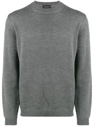 Roberto Collina Long Sleeve Fitted Sweater Grey