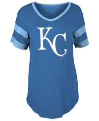 5Th And Ocean Women's Kansas City Royals Sleeve Stripe Relax T Shirt Royalblue