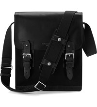 Aspinal Of London Shadow Leather And Nubuck Messenger Bag Black