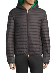 Save The Duck Hooded Jacket Black Charcoal Grey