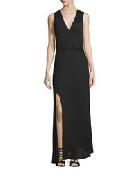 Haute Hippie Sleeveless Twist Front Maxi Dress Black Women's