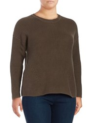 Lucky Brand Plus Ribbed Cotton Sweatshirt Olive