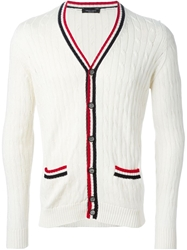 Roberto Collina Cable Knit Striped Trims Cardigan White