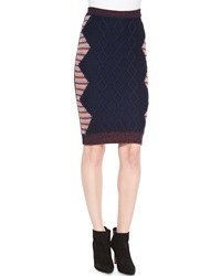 Risto Cable Knit Intarsia Pencil Skirt Navy