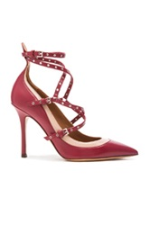 Valentino Love Latch Ankle Strap Leather Heels In Red
