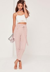 Missguided Tall Pink Paperbag Waist Cigarette Trousers