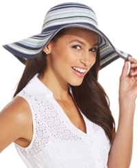 Collection Xiix Striped Lurex Floppy Hat Tropical Coral