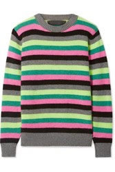 The Elder Statesman Striped Cashmere Sweater Gray