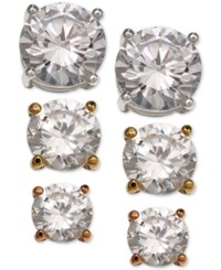 Giani Bernini 3 Pc. Set Cubic Zirconia Stud Earrings In Sterling Silver 18K Gold Plated And Rose Gold Plated Sterling Silver Only At Macy's Tri Tone