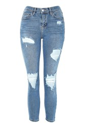 Topshop Petite Super Ripped Jamie Jeans Mid Stone
